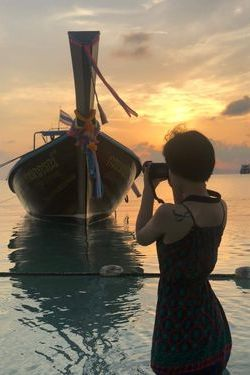 lucy catching the sunrise in Koh Phi Phi