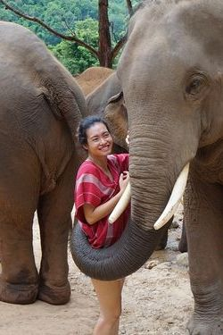 Ha Vy with elephants