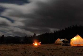 Muet Grassland Camp tents at the night