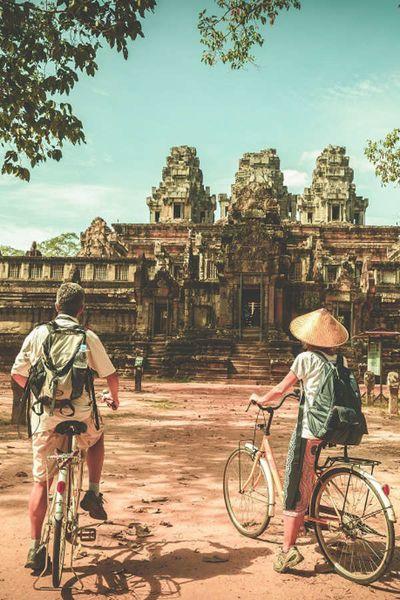 Kambodscha Auf Dem Fahrrad