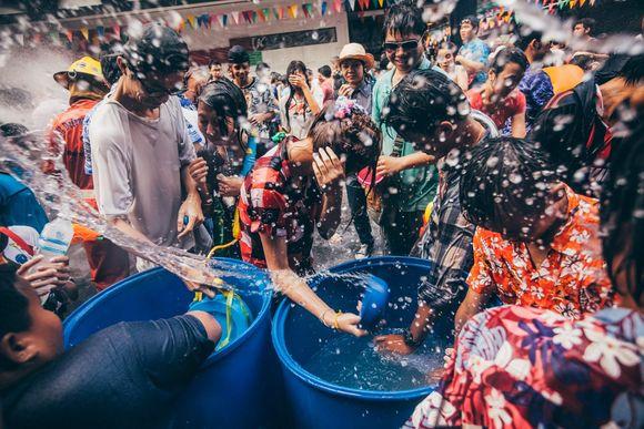 Get wet in Songkran (Water festival)