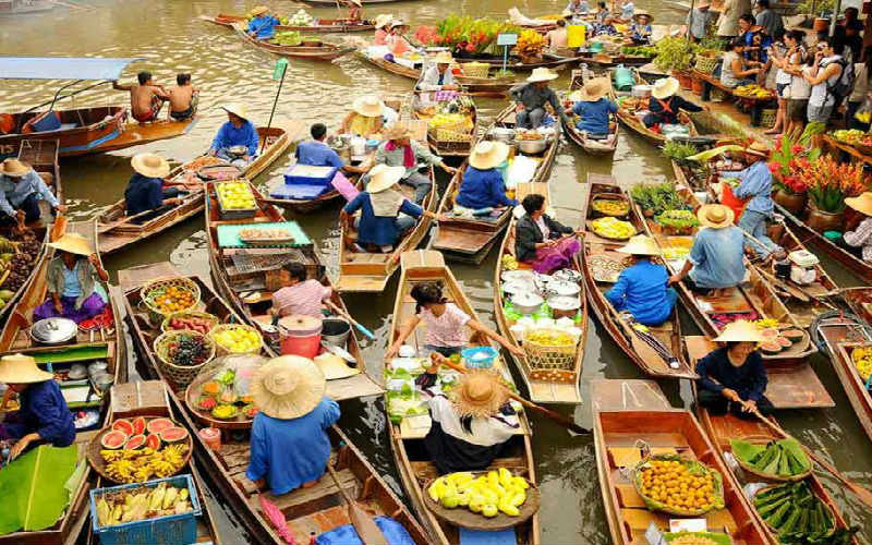 Shop at the floating markets