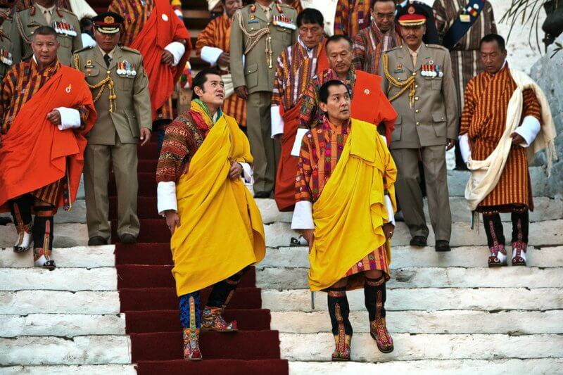 The young prince Jigme Khesar and his father