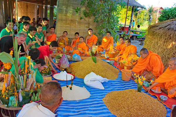 the Rice Festival, Boun Khoun Khao Festival is for expressing appreciation for the spirit and abundance of the land and the rice harvest