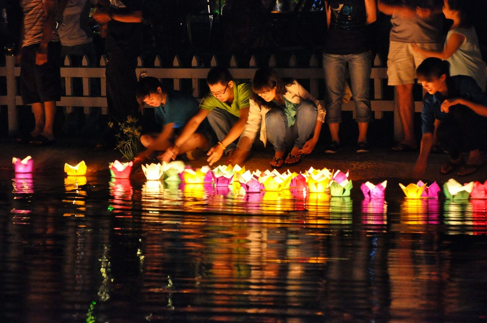 Give lantern floating to the river