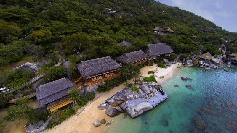 All the of villas of Six Senses are scattered over cliffs, hills and along the beach...