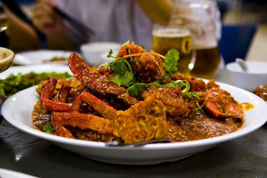 Delicious Singapore Chilli Crab. Crabs are commonly used and are stir-fried in a semi-thick, sweet tomato and chili sauce