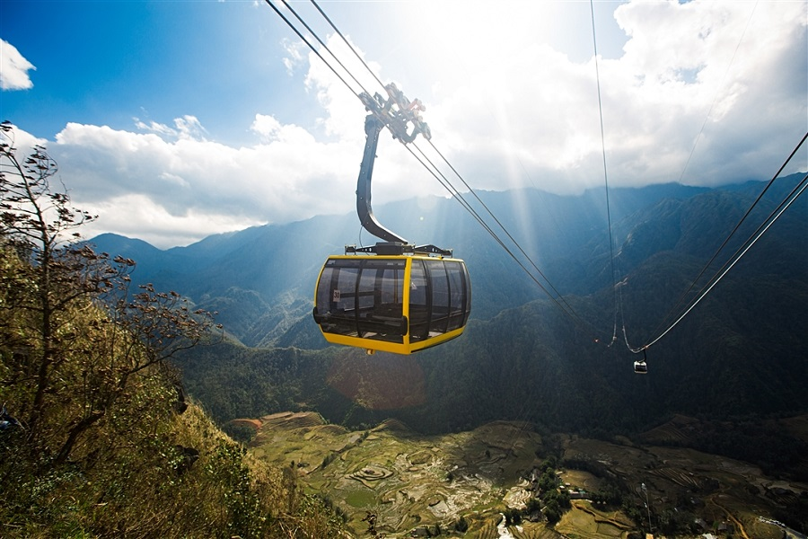 A cable car can take you to the height of 10,312ft in just 15 minutes