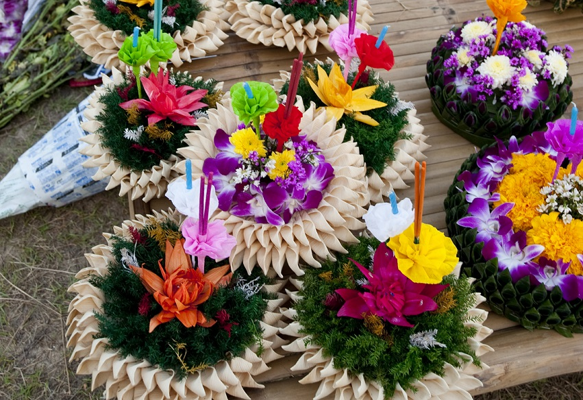 Krathongs' are decorated nicely with colorful flowers, incenses, and candles