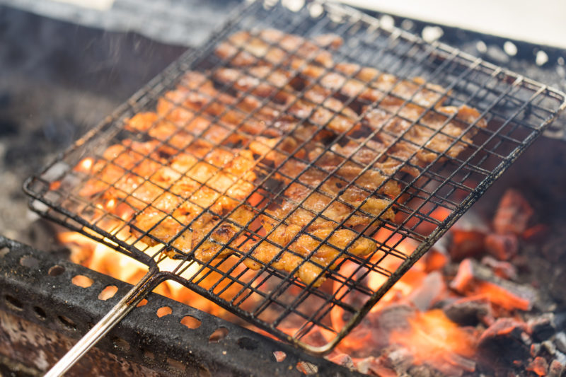 The pork is thinly sliced and then grilled only by using charcoal stoves to get a smoky and aromatic flavor