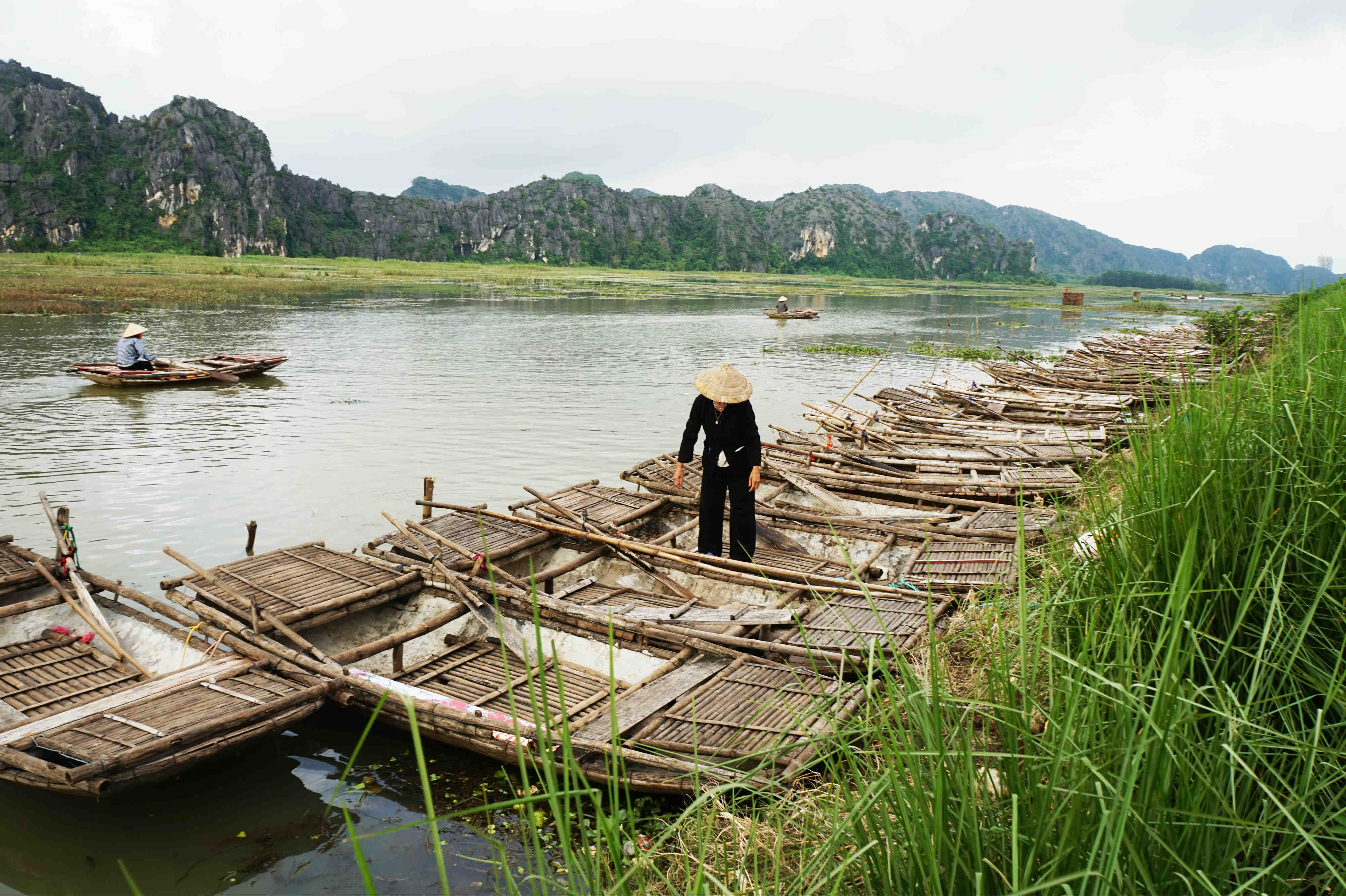 The traditional boats at Van Long are made by bamboo