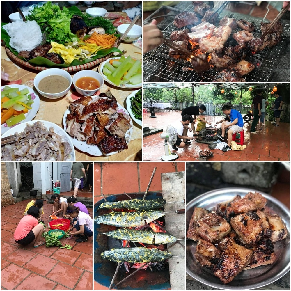 We had BBQ dinner with grilled fishes and pork ribs
