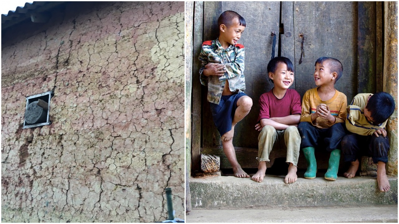 A Tuong trinh house's wall (left) and the kids were talking on the doorstep (right)