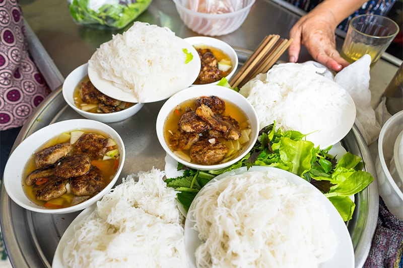Bun Cha- Grilled Pork with white rice noodle