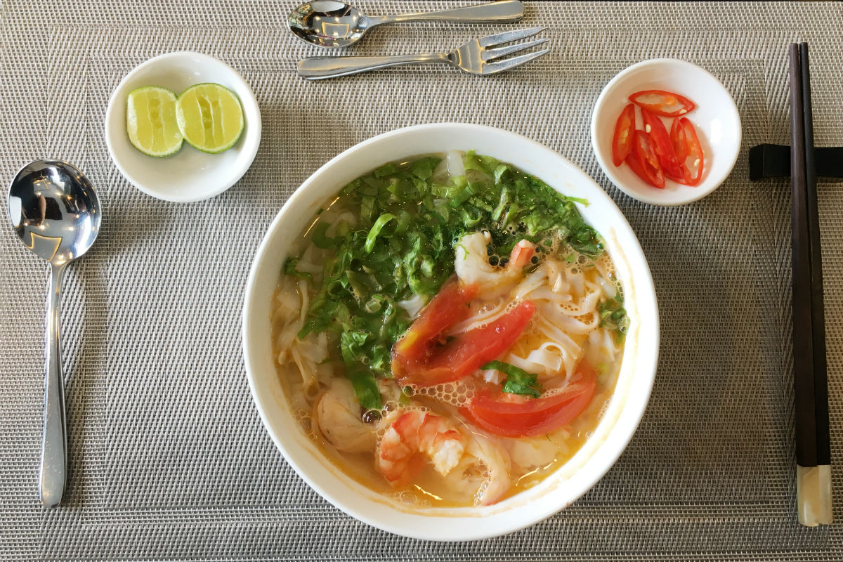 Seafood noodle for breakfast. It tasted delicious