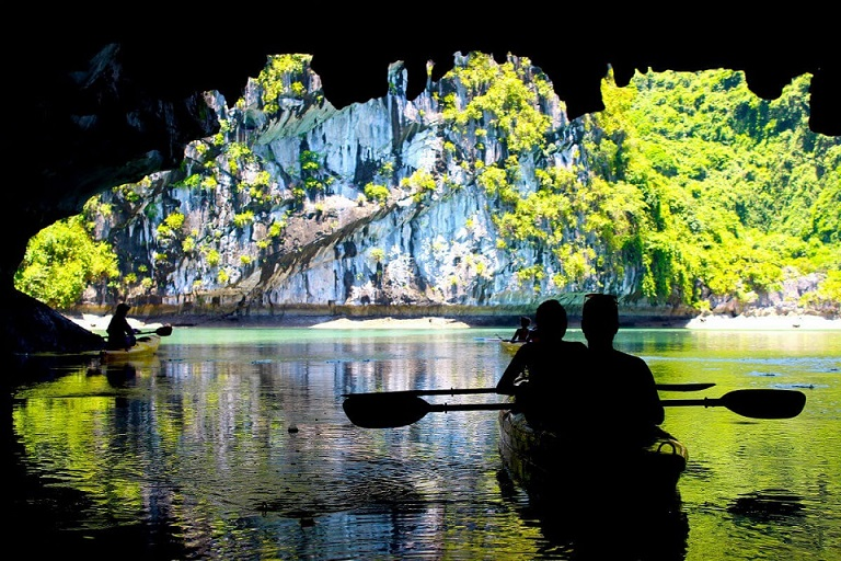 Explore a cave in the Lan Ha Bay