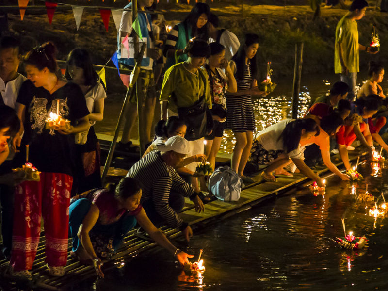 The river was lighted up with hundreds of Krathong