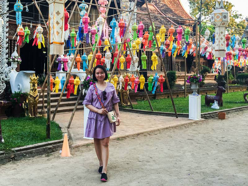 People decorated temples and streets with colorful Vesak lanterns. (Yeah, the lovely girl in the picture is Nhung)