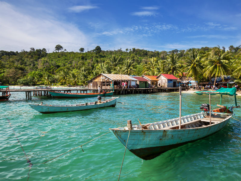 A fishing village with traditional wooden boats