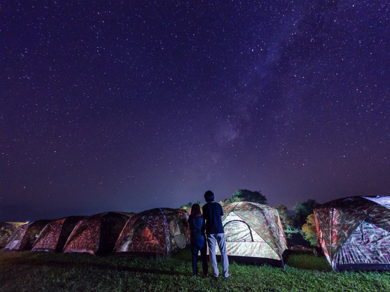 Tent camping site on Doi Samer Dao at Sri Nan Nation Park: a great place to witness the Milky Way