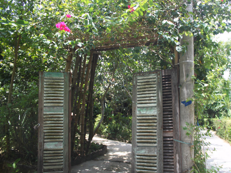 To get into the garden, you will have to step through a vintage gateway which is decorated by flowering vines and green color of plants
