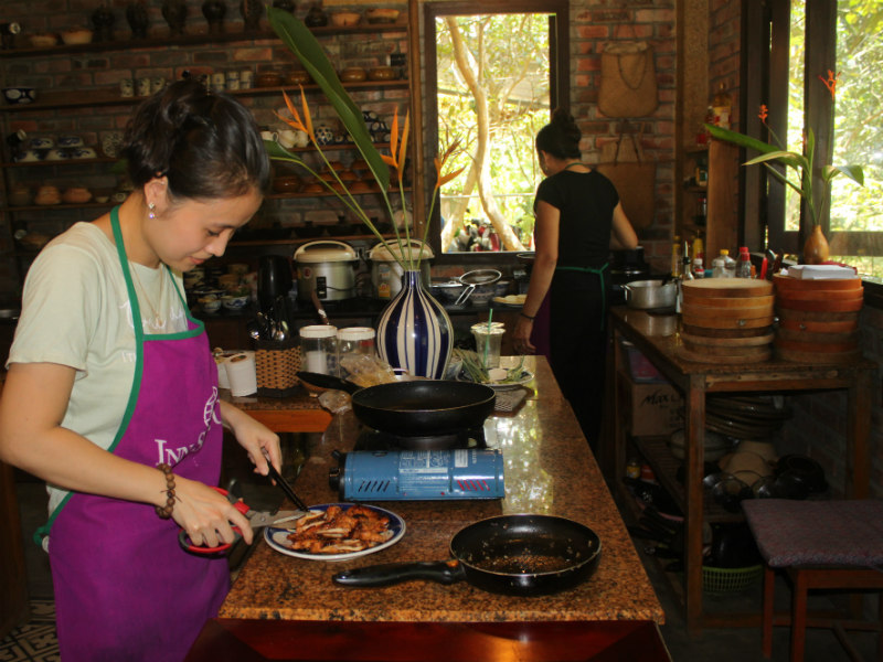 Her kitchen is very clean. Phuong is also well-known for her cooking class in Hue