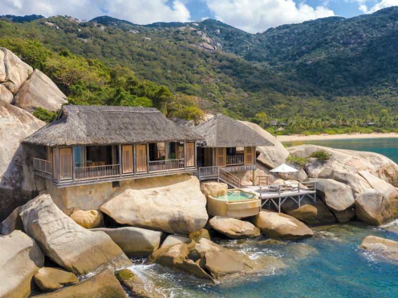 The dramatic setting of Rock Pool Villas, Six Senses Ninh Van Bay