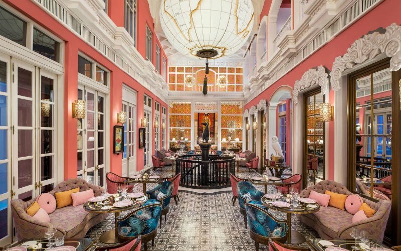 Eye-catching patterns and bright splashes of beautiful oceanfront Pink Pearl restaurant