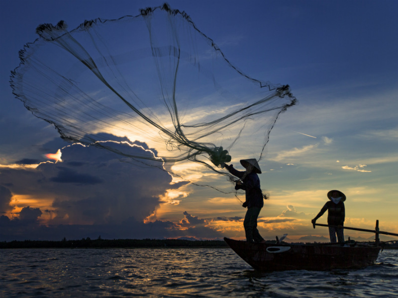 It's interesting to see traditional fishing techniques that the locals use to catch the fish