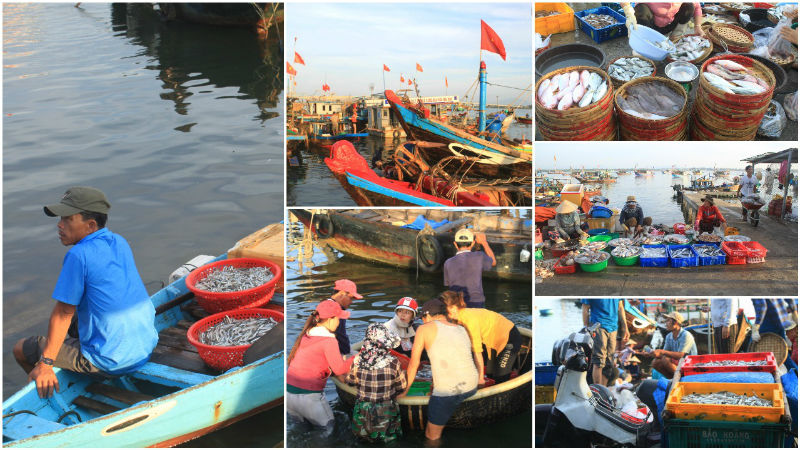 When we arrived, the market was busy with buyers, sellers, and ships returning from their morning catches